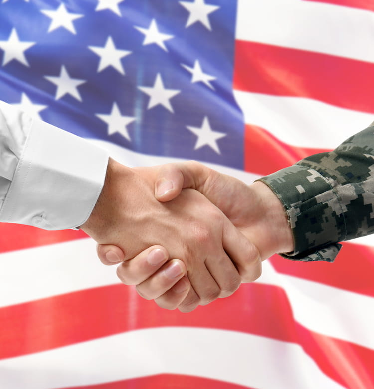 Civilian and Veteran Shaking Hands