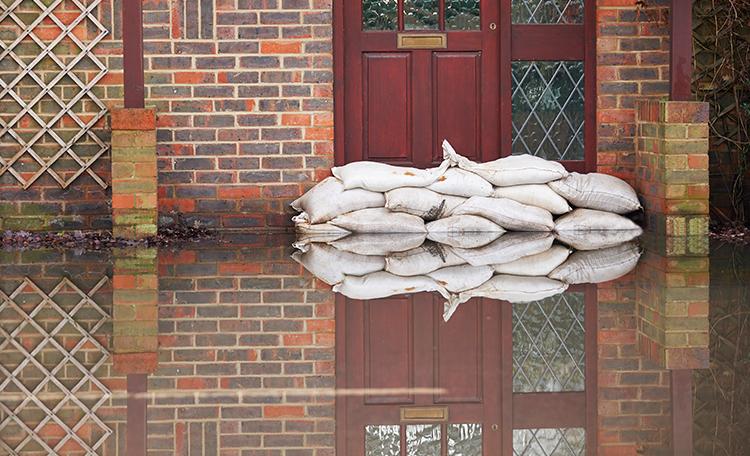 Flooded Doorway With Sandbags