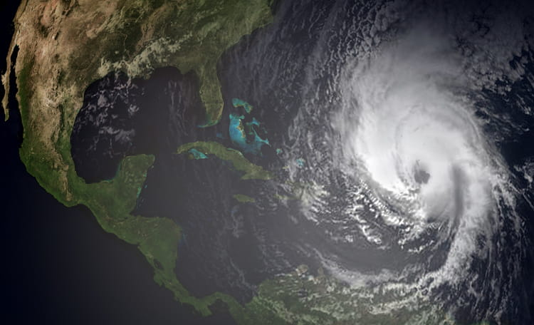 Aerial of Tropical Storm Approaching North America