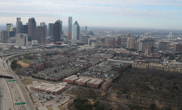 Aerial of Uptown and Downtown Dallas
