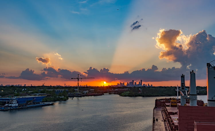 Port of Houston at Sunset