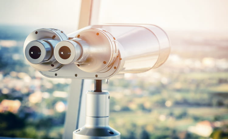 Binoculars Atop Building