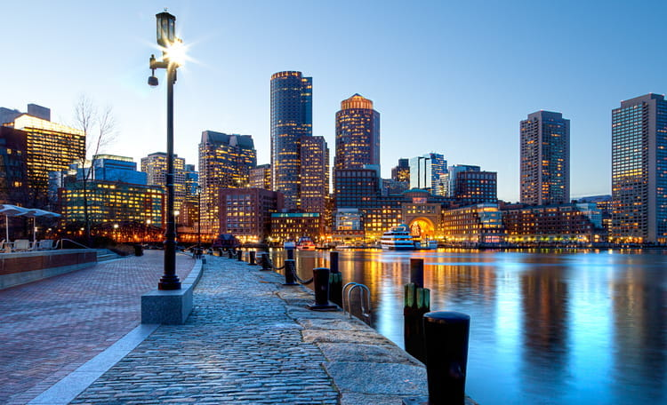 Boston Downtown Waterway at Dusk