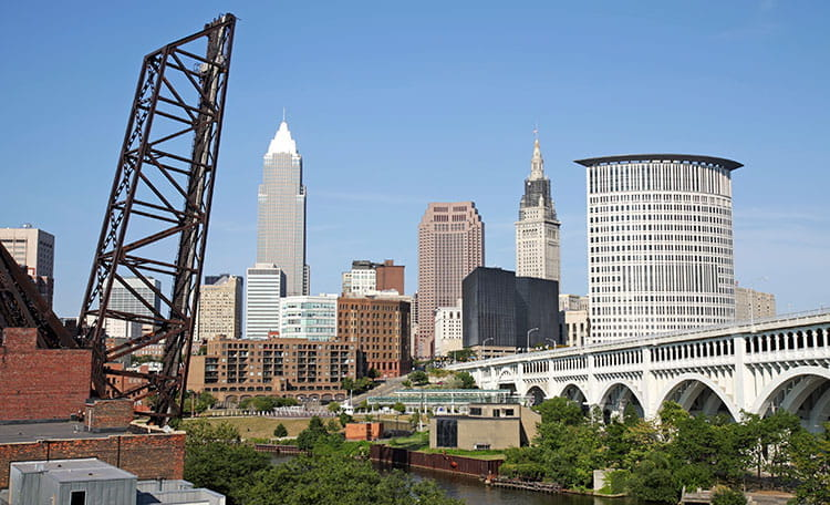 Spectacular Downtown Cleveland View from River