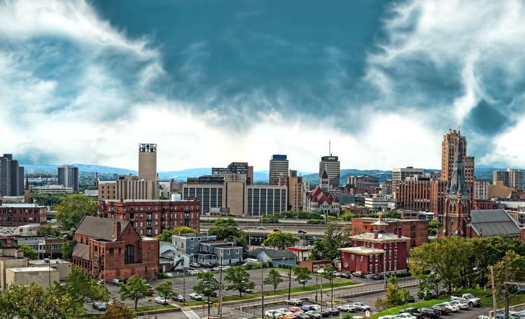 Syracuse Downtown Skyline Aerial