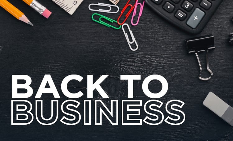 back to business infographic card