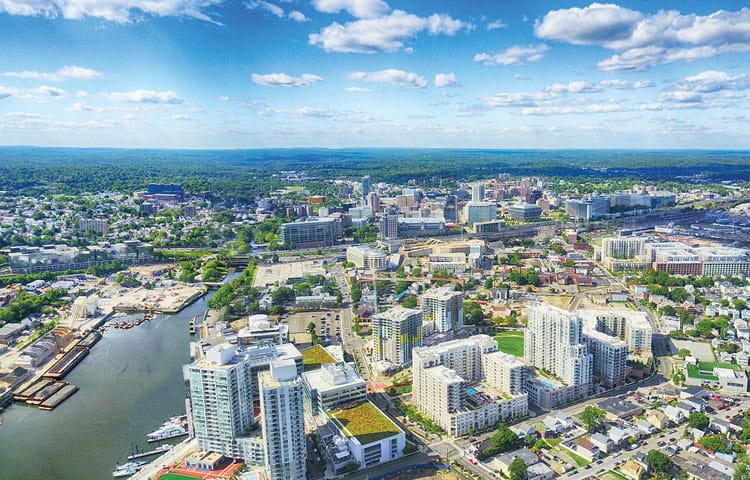 Stamford city skyline