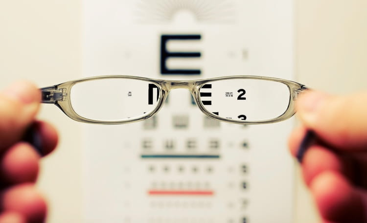 glasses in front of eye test letters