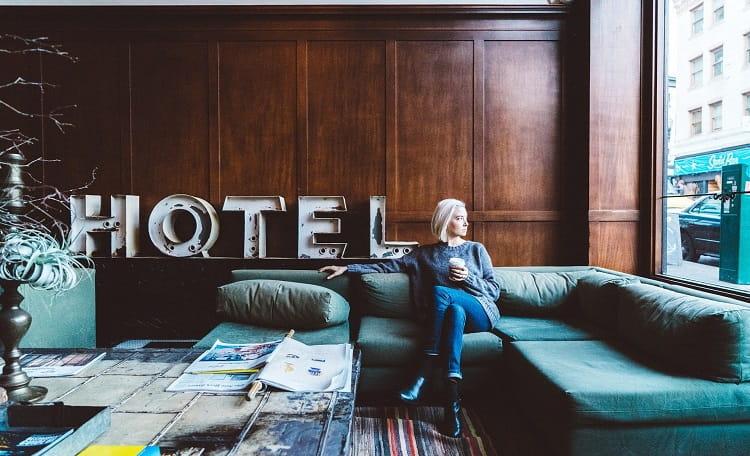 Hotel lobby women coffee