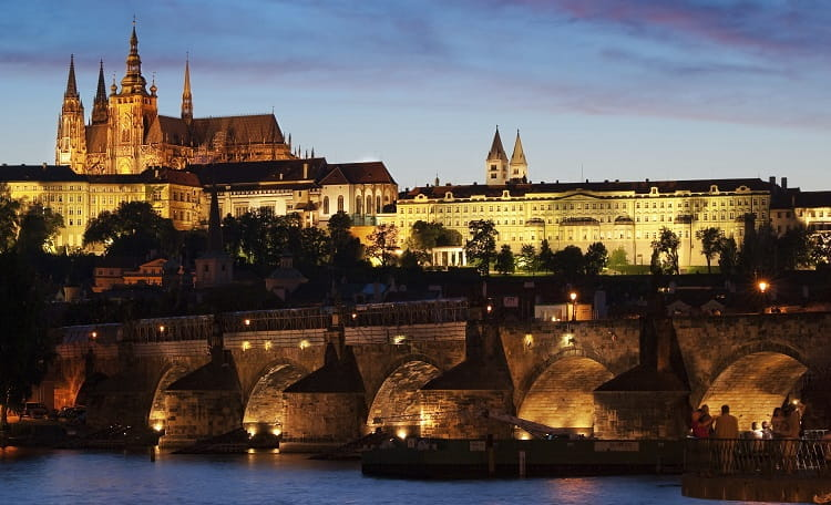 Prague, Castle, city, night