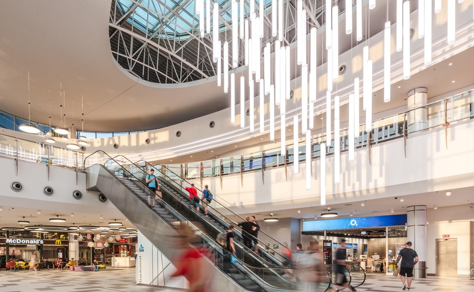 Galerie Butovice, shopping centre, interior, escalator