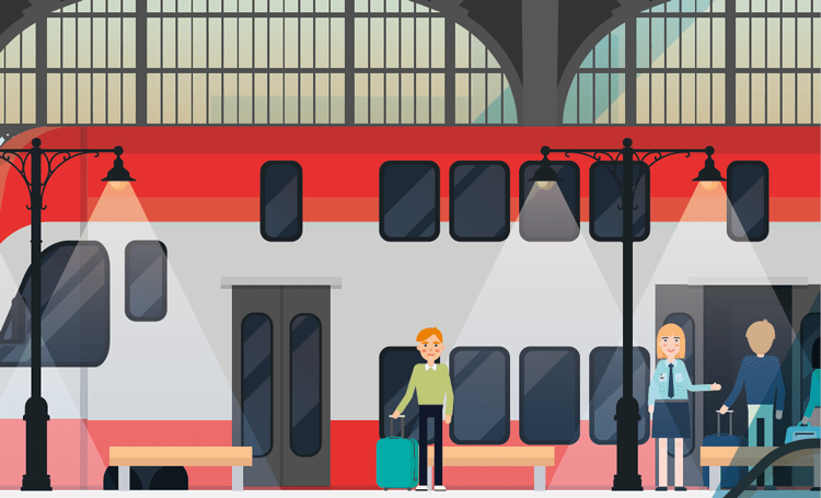 modern illustration of station train and passengers