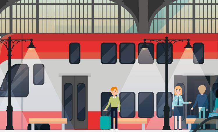 modern illustration of station train and passengers