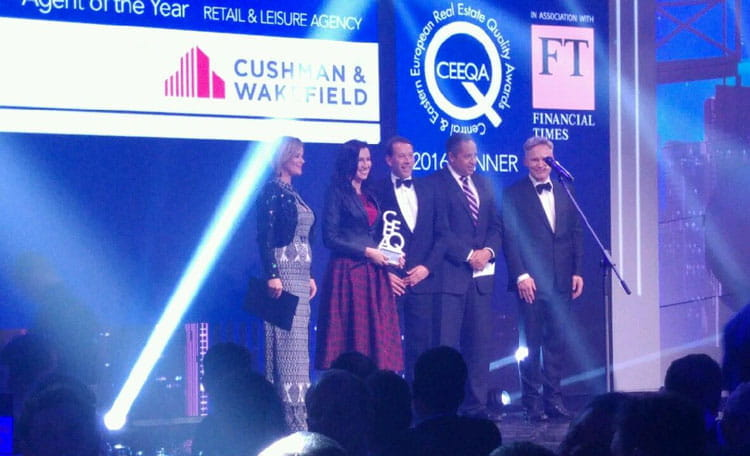 Cushman & Wakefield named CEE Retail & Leisure Agency Firm of the Year 2016 at the CEE Quality Awards organised by CEEQA in association with the Financial Times