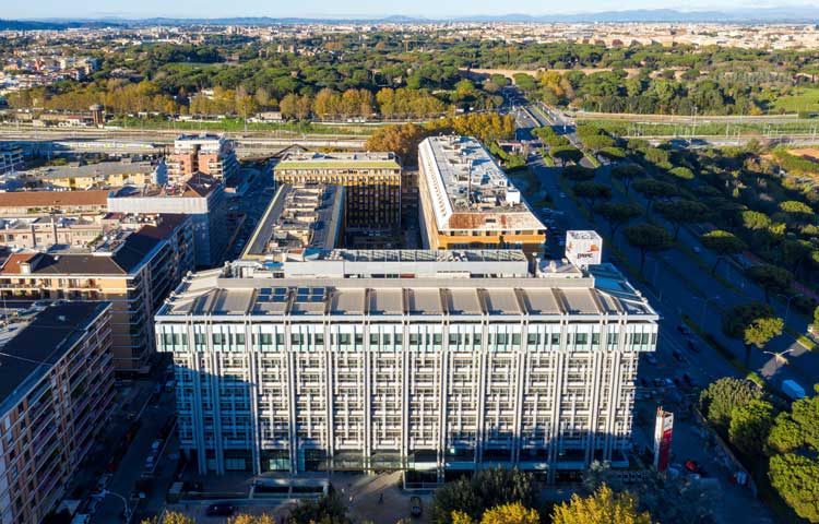 Aerial image of the office building Via Colombo 80, Rome