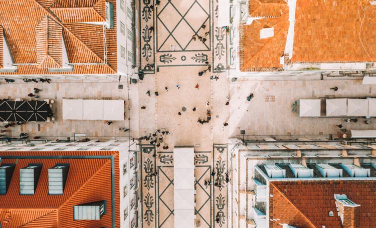 Lisbon aerial view onto retail street