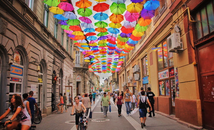 Umbrella street Romania
