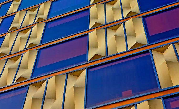 Gold blue office facade, Barcelona