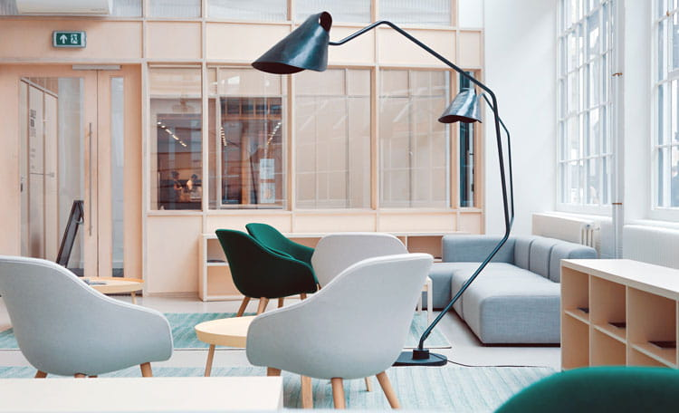 modern office with lamps and Vitra style chairs