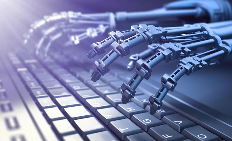 robotic hands above keyboard