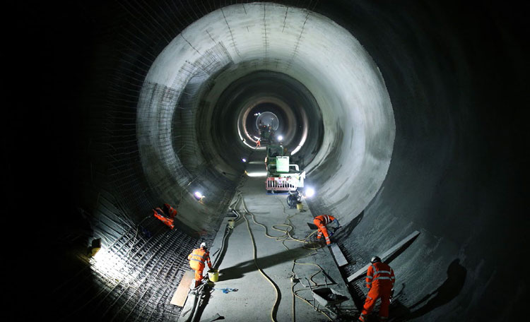 construction workers in the Crossrail tunnel