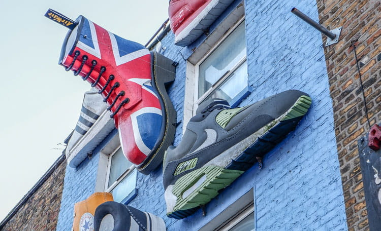 Shoe shop front, Camden, London