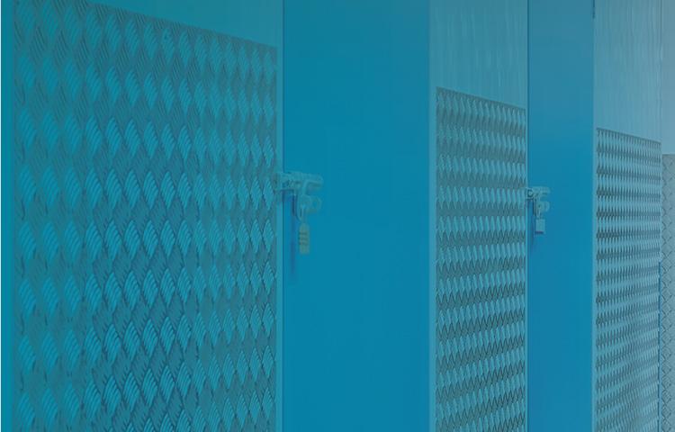 self storage unit with blue duotone overlaid