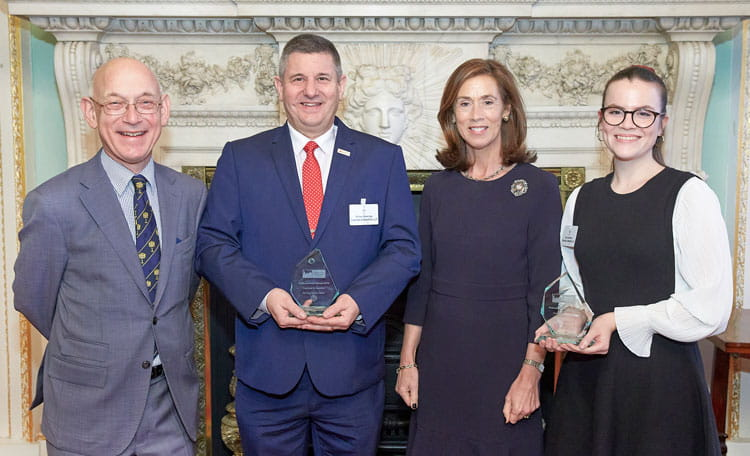 Elena Pemberton and Richard Wateridge receiving the Platinum Clean City Award 2020