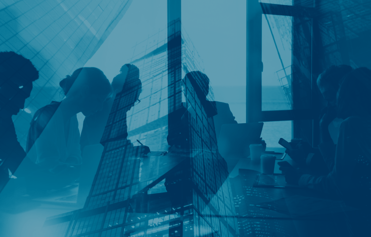 blue duotone graphic of people in office