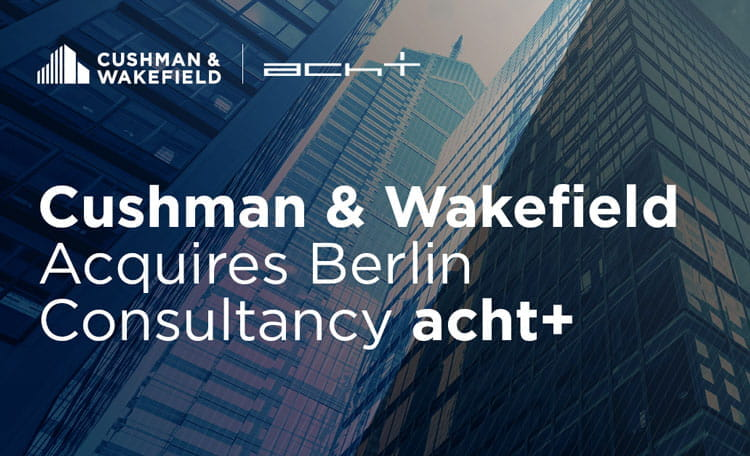 high rise office buildings looking upwards with Cushman & Wakefield acquires Berlin Consultancy acht+